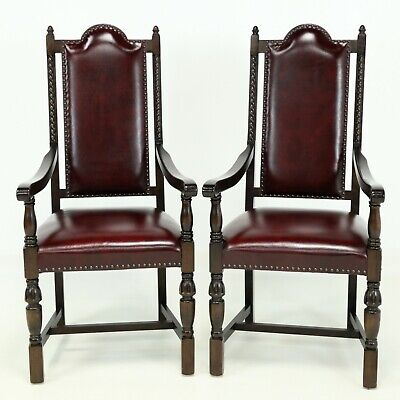 2 Oak Dining Armchairs Ox Blood Red Studded Leather  FREE Nationwide Delivery