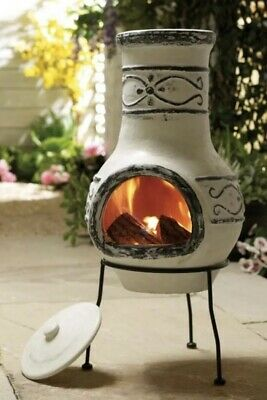 New Mexican Design Clay Chiminea Wood Fire Place Heater RRP £89.99