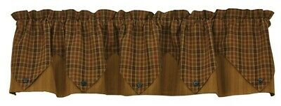 Primitive Spice Lined Point Valance Rustic Country Curtain by Park Designs