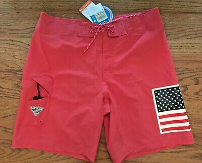 961d2f115b NWT Columbia PFG Mens Size 36 USA Flag Red Orange Board Shorts Swim Trunks  9