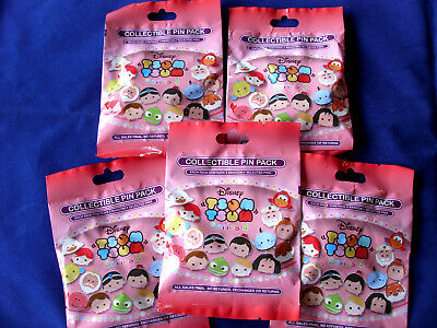Disney * TSUM TSUM SERIES #4 * 5 PACKS * NEW 5-pin Collectible Mystery Pack Pins