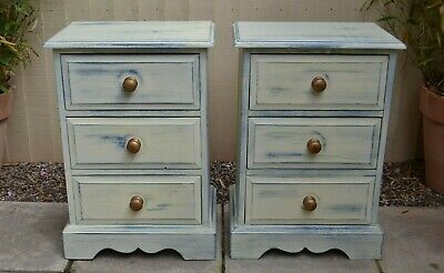 Pair of Painted Pine Chest of Drawers Bedside Cabinets Drawers Shabby Chic VGC