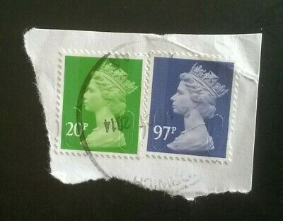 2 x STAMPS GB USED 97P PURPLE 2014 MACHIN  M14L MAIL SG U2932 +20p 2014 POSTMARK