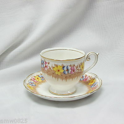 Vintage English Bone China Footed Teacup Hand Painted Cup & Saucer Floral Pink