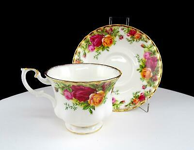 """Royal Albert Old Country Roses Montrose Fluted Brushed Gold 2 3/4"""" Cup & Saucer"""