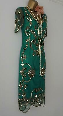 Vintage 20s Style Gatsby Flapper Charleston Deco Downton bead sequin dress 12