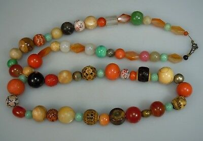 Vintage Antique Bead Necklace-Coral, Chinese Cinnabar, Carved, Jade, Carnelian