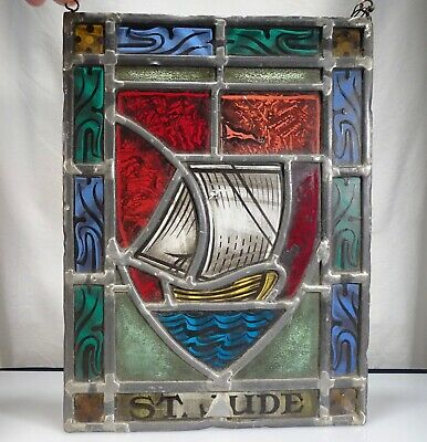 Antique Church St Jude Stained Glass Window Panel - 55744