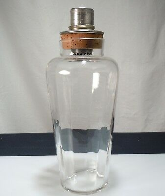 Antique Vintage Art Deco Glass & Silver Plate Cocktail Martini Shaker