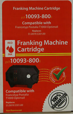 3 x Franking Machine Cartridges for T1000 Otpimail Red Ink 10093-800, Postalia