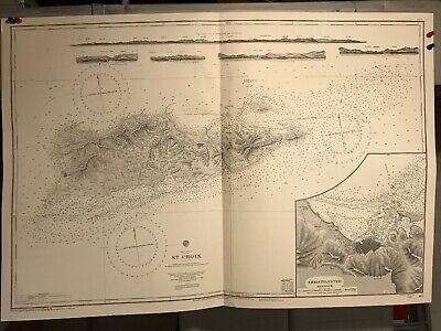 St Croix Navigational Chart / Hydrographic Map # 485, West Indies, Christiansted