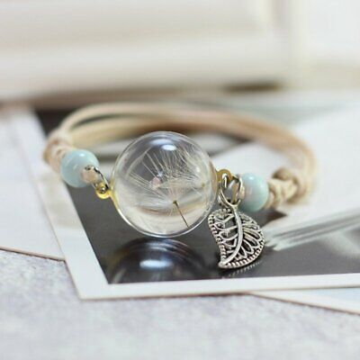 Lucky Flower Bracelet Handmade Dried Flower Glass Dandelion Bangle Charm Jewelry