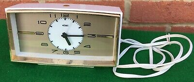 Retro Funky 1970's Metamec Electric Bedside Dual Alarm Clock White Gold Working