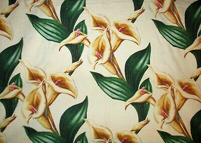 VINTAGE 1940s BARKCLOTH FABRIC Calla Lily CUTTER SCRAP CURTAIN PANELS tropical