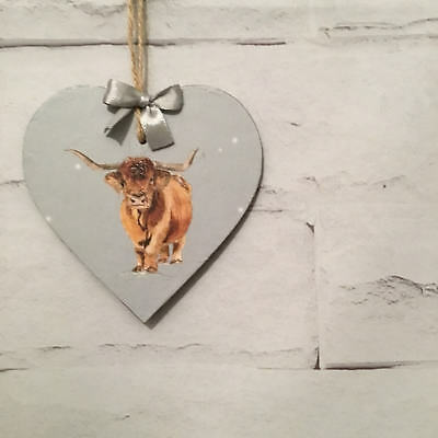 Highland Cow Wooden Hanging Heart Handmade Shabby Chic Vintage Decoupage Gift