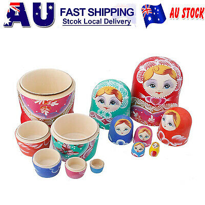 Set of 7pcs Wooden Russian Nesting Flower Dolls Stacking Babushka Matryoshka