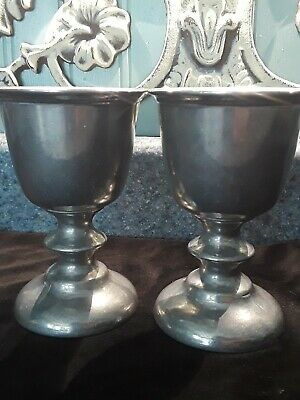 Pair 2-Vintage Duratale by Leonard Pewter Goblet,  chalice Made in Italy