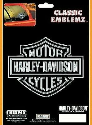 Harley-Davidson Logo-Chrome and Black Embossed Decal / Sticker *Free Shipping