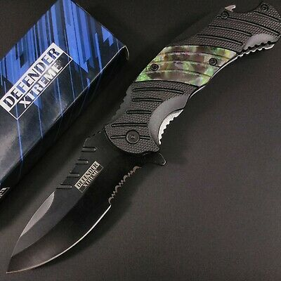 "8.5"" DEFENDER XTREME Spring Assisted Hunting Knife - Green/Black Ridged Handle"