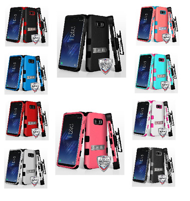 For Samsung Galaxy S8 Plus TUFF Hybrid Impact Phone Protector Case Cover w/Stand