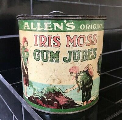 ALLEN'S IRIS MOSS GUM JUBES Early Australian Lolly Tin Kitchenalia RARE