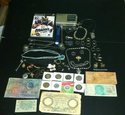 junk drawer lot coins,banknotes ,jewelry and much more  #25
