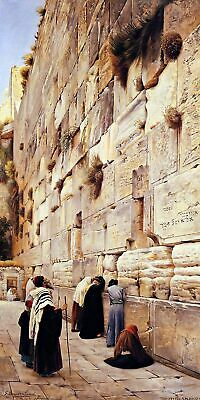 The Wailing Wall Jerusalem by German Gustav Bauernfeind Religion Repro on Canvas