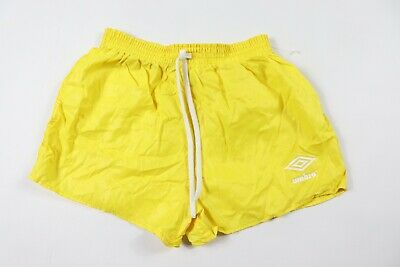 Vintage 80s New Umbro Youth XL Spell Out Nylon Soccer Shorts Yellow USA