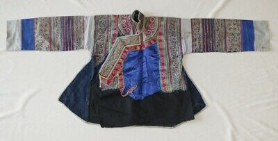 Vintage tribal exotic chinese minority people's old hand batik embroidery jacket