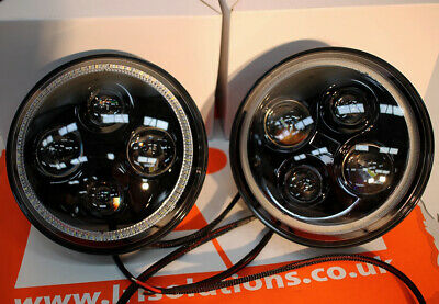 "Pair LED RHD angel eye 7"" headlights Fit Land Rover Defender 90 110 TDCI TD5"