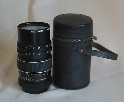 VINTAGE INA 135mm FIXED TELEPHOTO LENS, M42 MOUNT, JAPAN,  WITH CASE,  UV FILTER
