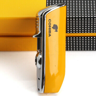 COHIBA Mini Pocket Cigar Lighter Metal Windproof 3 Jet Blue Flame Torch