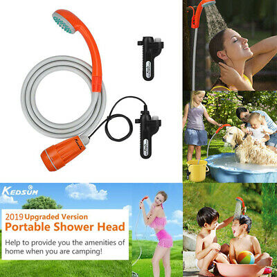 US Outdoor Rechargeable Shower Head Portable Camping Pump Travel Hiking Battery