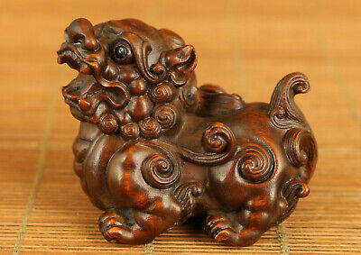 old Antique boxwood hand carved fortune Kylin statue netsuke table home decorate