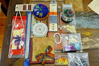 Sewing Craft Box Mixed Contents Vintage Embroidery Beads + Jewellery