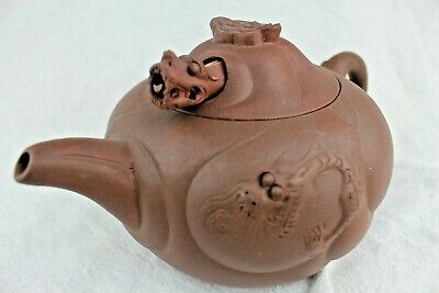 1920's CHINESE YIXING TEAPOT WITH EXTENDING DRAGON FINIAL - Signed Under Lid