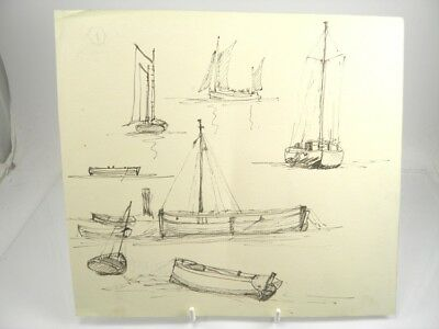 Antique 19th century English School pen & ink drawing sailing boats