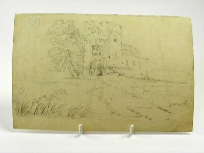 Antique 19th century English School pencil drawing architectural church study