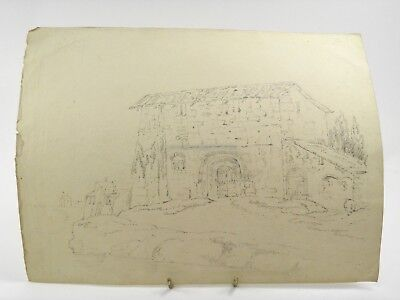 Antique 19th century English pencil drawing architectural building scene