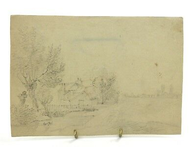Antique 19th century English School pencil drawing landscape with building