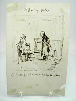 Antique 19th century English School pen & ink drawing A Puzzling Order