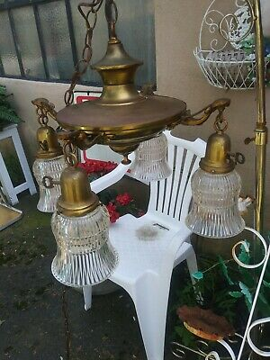 VINTAGE ART DECO 4 LIGHT CHANDELIER PANLITE swag FIXTURE  AWESOME!!!