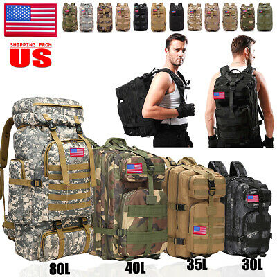30L/40L/70L/80L Military Tactical Rucksack Backpack Hiking Camping Outdoor Bag