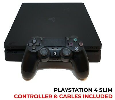 Sony PlayStation 4 PS4 Slim 500GB Matte Black Console - Cables, Controller & Box