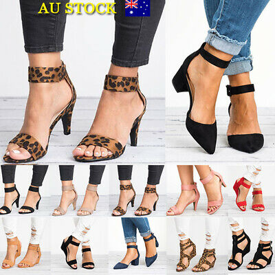 Women Low Mid Heel Sandals Ankle Buckle Woek Smart Shoes Ladies Slingback Shoes