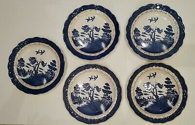 """Royal Doulton - Booths """"Real Old Willow"""" Set of 5 Large Dinner Plates 10.5"""""""