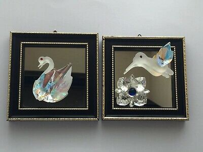 Hadrian Crystal x2 Collectable Designer Mirror Pictures- Swan & Hummingbird