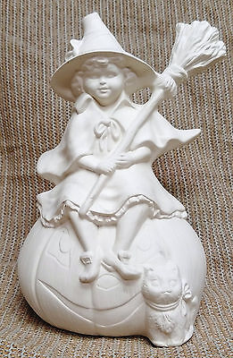 Ceramic Bisque Witch on Pumpkin Provincial Mold 852 U-Paint Ready To Paint