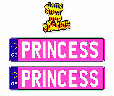 2 x KIDS PRINCESS NUMBER PLATES CHILDREN RIDE ON CAR SELF ADHESIVE STICKERS