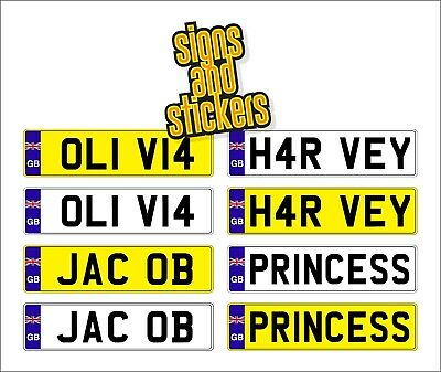 4 X Kids Personalised Number Plates Children Ride On Car Self Adhesive Stickers